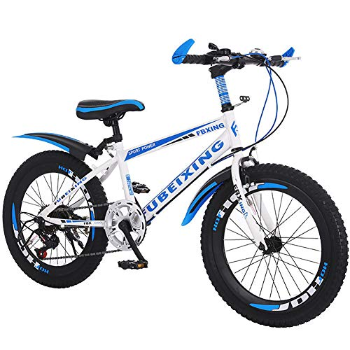 LINGYUN 18 20 22 Inch Variable Speed Kid's Mountain Bike, Boy and Girl Commuter Bike, Carbon Steel Frame and Anti-Skid Tires, for 8-15 Year Old,White,22in