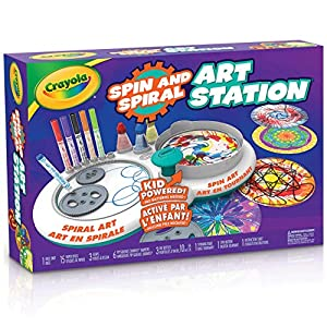 CRAYOLA CRAFT KIT: This fun arts and crafts kit for kids includes 3 Spiro gears, 6 Pip-Squeaks markers, 3 ink bottles, 15 paper discs, 1 base unit, and instructions. SPIRAL & SPIN ART: 2-in-1 spiral art and spin art crafts for kids. Use spiral and sp...
