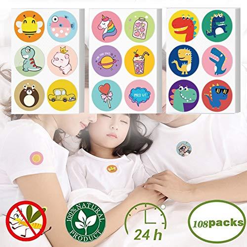 Horizoncn Mückenschutz-Aufkleber für Kinder, niedliches Cartoon-Muster Natürliche Mückenschutz-Aufnäher Die Mückenschutz-Aufkleber bieten 24-Stunden-Schutz, 108 STK