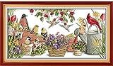 Kits de punto de cruz contados -Pájaro en el jardín 40x50cm- Kit de bordado a mano con patrón de punto de cruz Diy Kit de bordado impreso Set decoración del hogar
