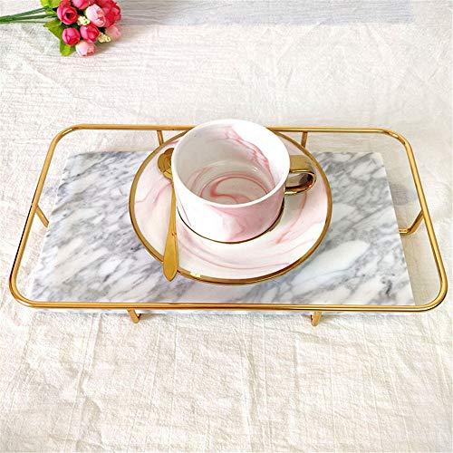 Mooie marmer lade met ijzeren rails, Elegant plein Vanity Mirror lade met Side Bars, maakt een grote Bling Gift (Color : White, Size : 36x22x4cm)