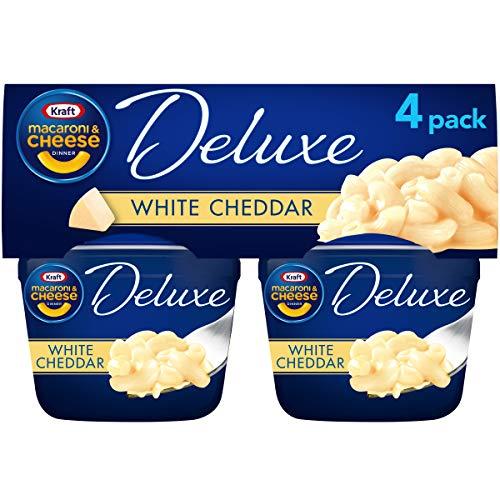 Kraft Deluxe White Cheddar Macarrones y queso fácil para microondas (paquete de 4 unidades, tazas de 2.39 onzas)