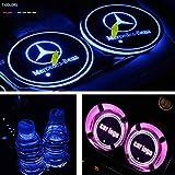 Luces de la almohadilla de la taza del coche Titular luminosa Posavasos Copa de las luces del coche de 7 colores Coaster inteligente luminosa Agua cambio de alfombra USB for automóviles de Mercedes Be