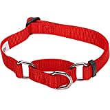 Blueberry Pet Safety Training Martingale Dog Collar, Rouge Red, Large, Heavy Duty Nylon Adjustable Collars for Dogs