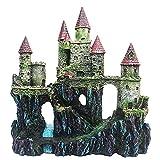 sheibuzhidao Castillo de acuario decoración pintada a mano con detalles realistas 9.8 pulgadas de alto tanque de peces adornos pequeños refugios de peces acuario resina castillo decoración