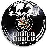 wttian Freedom Rider Rodeo Show Reloj de Pared Wild Cowboy Rodeo Life Disco de Vinilo Reloj de Pared Reloj Vintage para Montar a Caballo