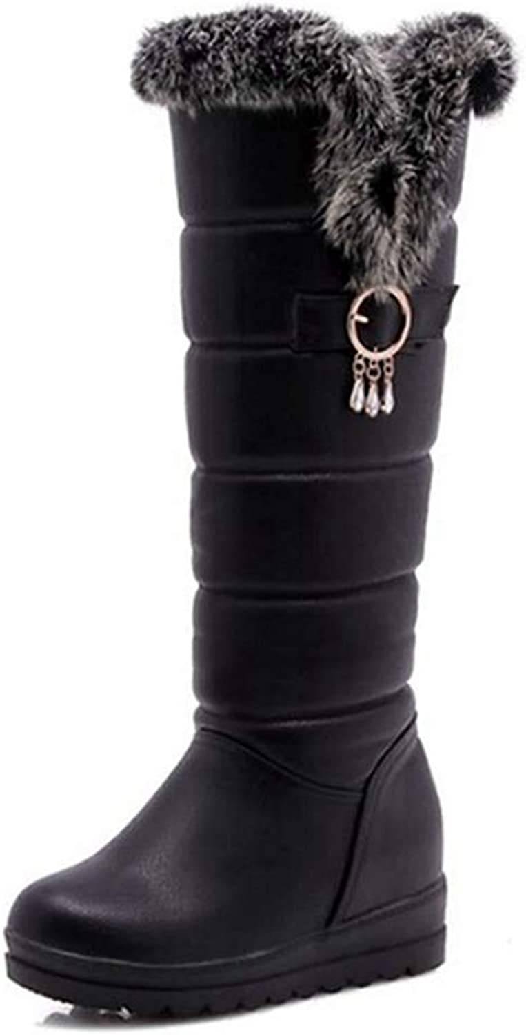 Fay Waters Women's Winter Warm Fully Plush Fur Lined Inside Heels Snow Knee High Cotton Boots