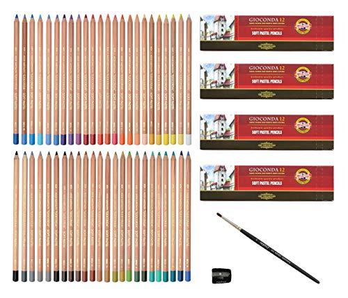 Pastellstifte 48 Stück Gioconda Pastellkreidestifte von KOH-I-NOOR Set + Anspitzer + Pastellpinsel