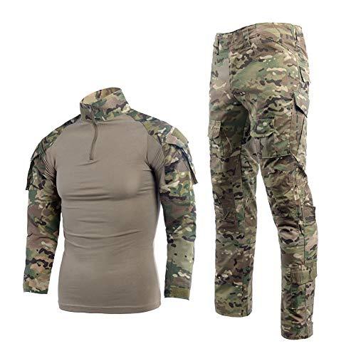 Minghe Herren Taktisches Hemd und Kampfhose Set Langärmlige T-Shirt mit 1/4 Reißverschluss für die Militärjagd
