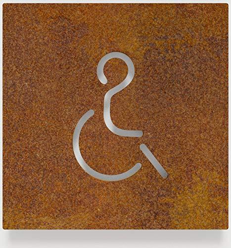 Vintage WC-Schild – selbstklebend – Retro Toiletten-Schild – Rollstuhl-Fahrer Piktogramm – B.02.R