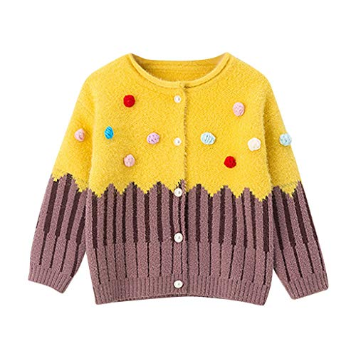 wuayi Bébé Fille Rayure au Chocolat Manches Longues Cardigan Tricot Top Pull Knitwear Pullover Sweater Manteau Blouson Hiver