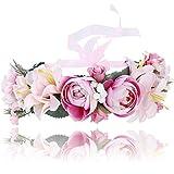 Damen Mädchen Blume Stirnbänder Krone - Handarbeit Blume Haarkranz Girlande mit Schleife für Festival Hochzeitsfeie (Rosa)