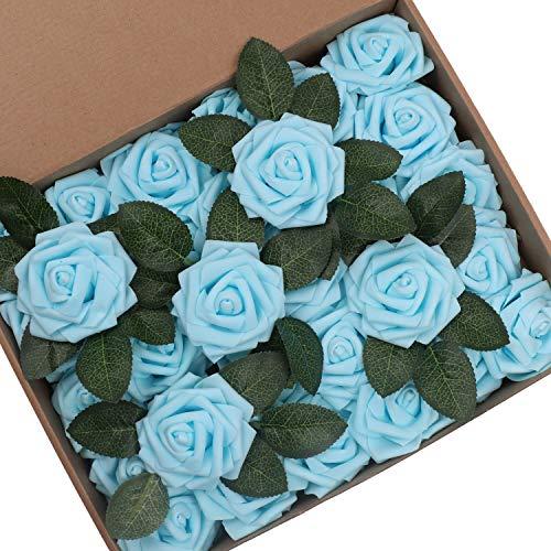 Hiveseen 30 Piezas Rosas Artificiales, Flores Artificiales Rosa Espuma Mirada Real con Hojas y Tallos Ajustable para Hogar Boda Fiesta Decoraciones