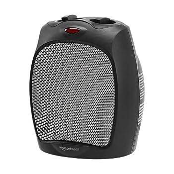 Amazon Basics 1500W Ceramic Personal Heater with Adjustable Thermostat Black