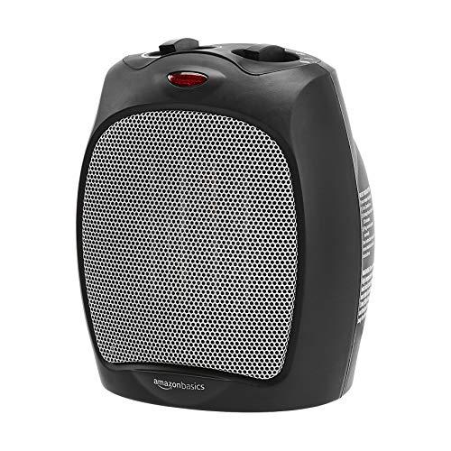 Amazon Basics - Calentador personal de cerámica de 1500 W con termostato ajustable, color negro