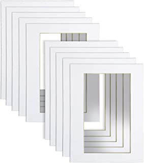 18x24 White Picture Mats with Core Bevel Cut Frame Mattes for 13x19 Pictures, Pack of 10