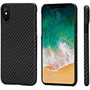 """PITAKA Magnetic Slim Case Compatible with iPhone X 5.8"""", MagEZ Case Aramid Fiber [Real Body Armor Material] Phone Case,Minimalist Strongest Durable Snugly Fit Snap-on Case - Black/Grey(Twill)"""