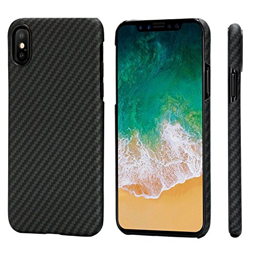 PITAKA Magnetic Slim Case Compatible with iPhone X 5.8', MagEZ Case Aramid Fiber [Real Body Armor Material] Phone Case,Minimalist Strongest Durable Snugly Fit Snap-on Case - Black/Grey(Twill)
