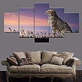 n a Wandbild Modulare Leinwand Kunst Moderne Wohnkultur 5 Stück Tier Geparden Gemälde Wohnzimmer HD Print Poster Geparden Gemälde Rahmenlos Fünf Bilder Vlies NA