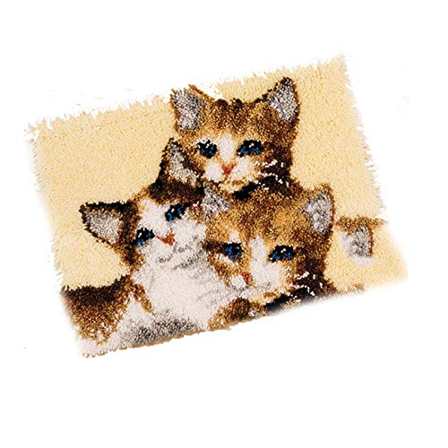 DIY Handicraft Self-Knot Kit for Three Cats, You Can Make Your Own Carpet, Self-Knot Kit, DIY Carpet for Home Decoration, 52 * 38cm