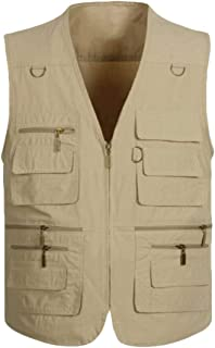 Maweisong Men's Multiple Pockets Cotton Safari Fishing Jackets Vest Coats