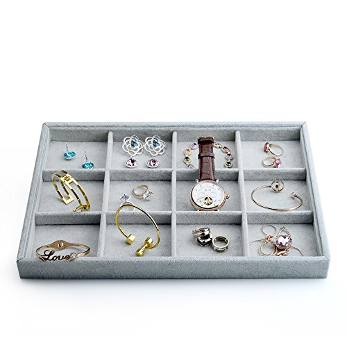 """Oirlv Velvet Stackable Jewelry Display Trays 12 Grids Rings Earrings Bracelet Organizer Storage Tray(13.8""""x1.29""""x9.4"""")"""