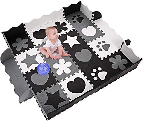 YUEBO Baby Spielmatte, Kinder eco schadstofffrei Krabbelmatte 13mm Extra dick Baby Schaumstoffmatte Nicht giftig Kinderteppich mit Tragetasche (18 TLG Krabbeldecke+10 TLG Kanten)