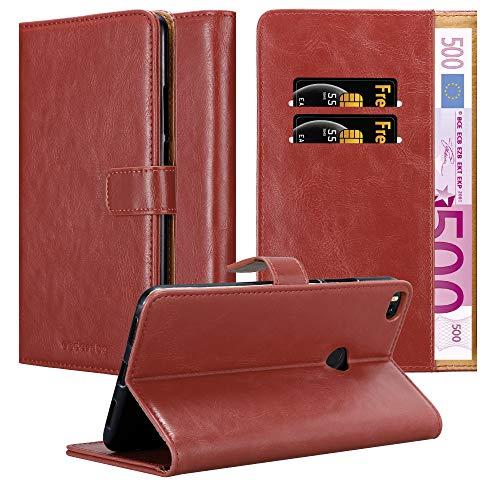 Cadorabo Hülle für Xiaomi Mi Max 2 in Wein ROT – Handyhülle mit Magnetverschluss, Standfunktion & Kartenfach – Hülle Cover Schutzhülle Etui Tasche Book Klapp Style