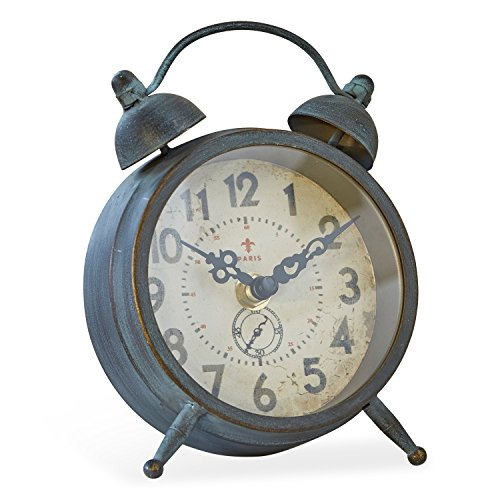 Loberon Uhr Horaire, Eisen, H/B/T ca. 16,5/11,5/4,5 cm, graublau