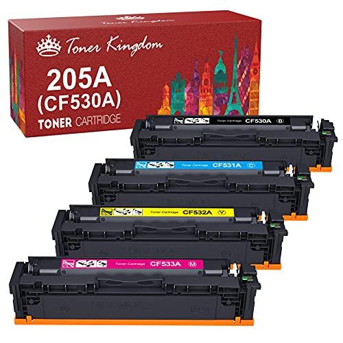 Toner Kingdom Compatible Cartuchos de tóner Reemplazo para HP 205A CF530A CF531A CF532A CF533A para HP Color Laserjet Pro MFP M181fw M181 MFP M180n M180nw M180n Laserjet Pro M154a M154nw M154