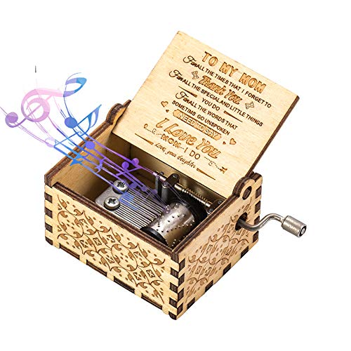 You Are My Sunshine Wood Music Boxes,Laser Engraved Vintage Wooden Musical Box Gifts for Birthday/Christmas (Daughter to MOM)