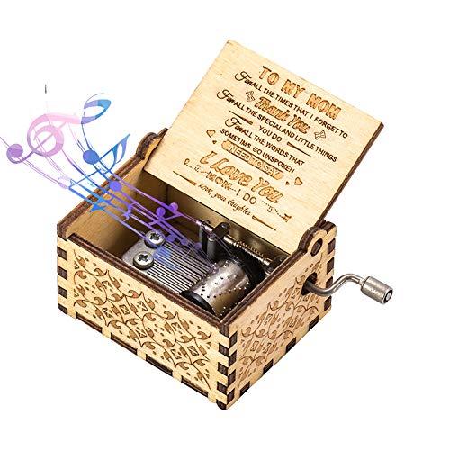 ASZKJ You Are My Sunshine Wood Music Boxes grabados con láser, regalo para cumpleaños o Navidad (Daughter to MOM)
