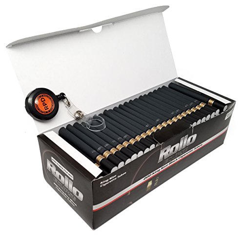 Rollo Eclipse - King Size (84mm) Black Cigarette Tubes (200 Tubes per Box) 1 Box with Rolling Paper Depot Lighter Lasso