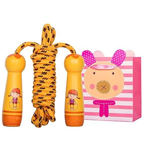 Bililike Springseil Kinder mit Cartoon Holzgriff, Verstellbare Hüpfseil Kinder mit Geschenktüte Speed Jump Rope für Kinder, Jungen und Mädchen Seilspringen 6 8 10 Jahre