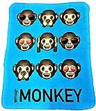 Emoji Blanket with Extra Soft Fun Design Fleece Throw Blanket (Blue)