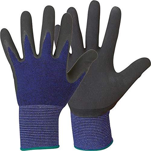 12 Paar Latex beschichtete Handschuhe Stronghand *SCOTT* blau/schwarz - angenehm leichter Kälteschutz