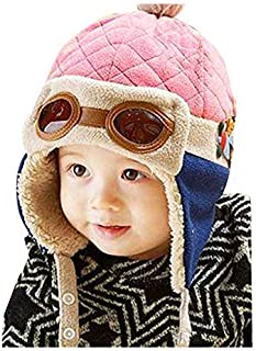 Crochet Earflap Pilot Hats Rabbit Ears Beanie Cap Winter Warm Knit Caps for Toddlers Baby Girls and Boys