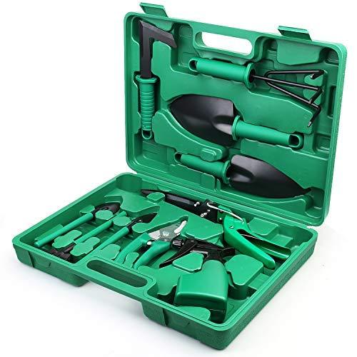 Royalsellpro Garden Tools Set, 10 Pieces Gardening Tools, Heavy Duty Gardening Kits with Carrying Case, Anti-Rust Ergonomic Handle, Gardening Gifts for Women, Men, Gardeners