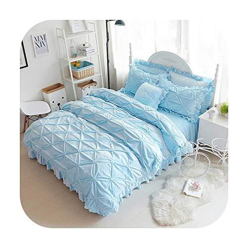 MAC-GIrl Fleece Plissé Winter Beddengoed Set Volledige Queen King Size Grijs Blauw Beige Paars Bed Sheets Bed Rok Dekbedovertrek Set Kussensloop