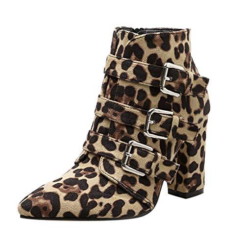 POLPqeD Mujer Botines con Estampado de Leopardo Botas de Cuero Hecho a Mano Botas Altas de Tacón Ancho Botines Altos Botas de tacón de 9 cm Mujer Zapatos Altos Botas Mujer Tacón Alto