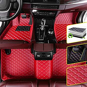 DBL Custom Car Floor Mats for BMW 5 Series GT F07 535i 2010-2013 GranTurismo Waterproof Non-Slip Leather Carpets Automotive Interior Accessories 1 Set Red