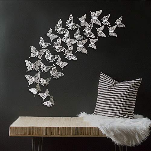 48 pezzi 3D Farfalla Decorative Adesivi Murali da Parete, fai da te Rimovibili Decorazioni Murali sticker decorativi per Casa Bagno Soggiorno Camera da Letto per Bambini/Ragazze(Argento)