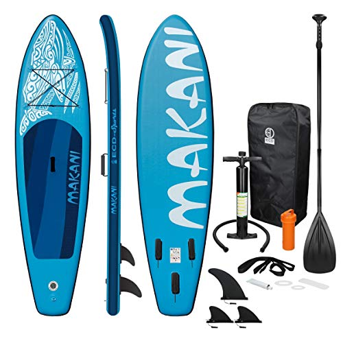 ECD Germany Tabla Hinchable Makani Paddle Surf/Sup 320 x 82 x 15 cm Azul Stand up Paddle Board PVC/EVA hasta 150kg 3 Antideslizantes Diferentes Modelos Incluye Paleta Aluminio Bomba y Accesorios