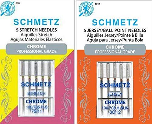 Bundle of 10 Total-5 Each Schmetz Chrome Professional Grade Stretch sz 75/11 & Jersey 80/12 Sewing Machine Needles