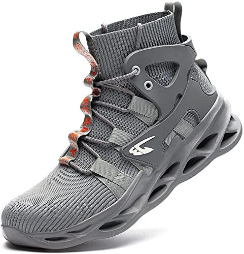 HOUJIA Zapatos de Seguridad Hombres y Mujeres,Zapatillas con Punta de Acero,Botas de Trabajo Ligeras,Zapatillas industriales Transpirables