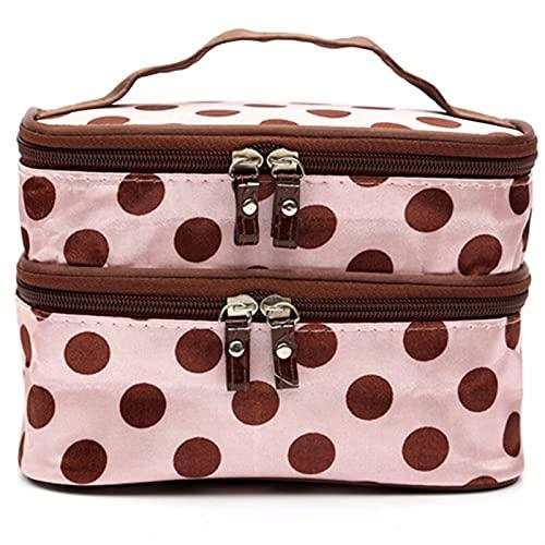 SRXSMGS Bolsa de cosméticos para mujer, bolsa de almacenamiento de cosméticos de gran capacidad, portátil, bolsa de aseo impermeable con cremallera (color rosa, tamaño: 20 x 11 x 13 cm)