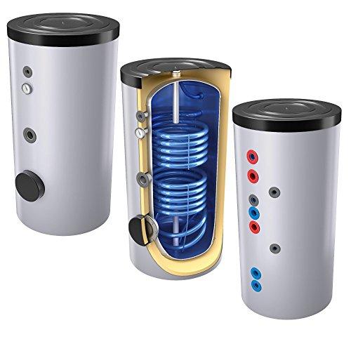 200 Liter emaillierter Solarspeicher/Warmwasserspeicher/Trinkwasserspeicher, Energieeffiziensklasse B, mit 2 Wärmetauschern, inkl. Isolierung, Magnesiumanoden und Thermometer
