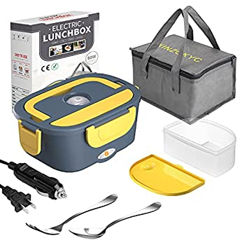 Electric Lunch Box [Upgraded],60W High-power Food Heater,12V 24V 110V 3 in1 Portable microwave for Car/Truck/Home–Leak proof,Removable 304 Stainless Steel Container fork & spoon and Carry Bag……