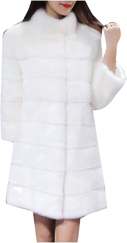 Cobama Women's Bridal Fluffy TurnDown Collar Cardigan Parka Jacket Coat