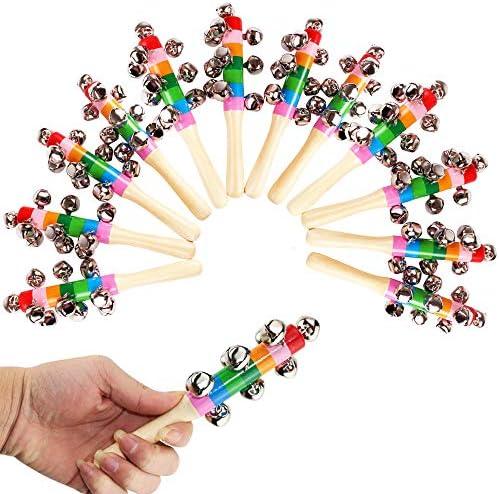 ATROPOS 12 Pcs Rainbow Handle Wooden Bells Vivid Handle Bells for Jingle Stick Shaker Rattle product image